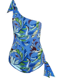 Emilio Pucci One Shoulder Printed Swimsuit Blue