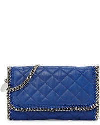 Blue Quilted Leather Clutch