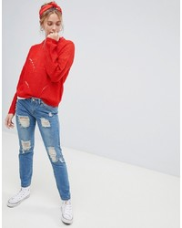 Jdy Boyfriend Jeans With Distress Detail