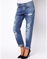 Asos Brady Low Rise Slim Boyfriend Jeans In Vintage Wash With Rips