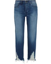 3x1 Distressed High Rise Boyfriend Jeans Mid Denim