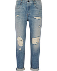 Alexander Wang Distressed Mid Rise Boyfriend Jeans Mid Denim