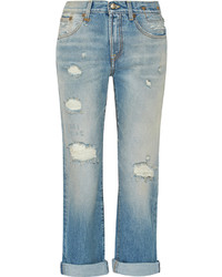 R 13 R13 Catherine Distressed Mid Rise Boyfriend Jeans Mid Denim