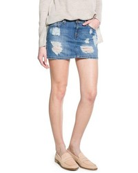 Blue Ripped Denim Mini Skirt