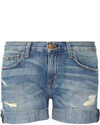 Current/Elliott The Boyfriend Distressed Denim Shorts Light Denim