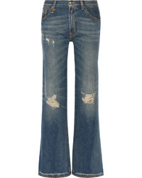 R 13 R13 Jane Distressed Mid Rise Flared Jeans Mid Denim