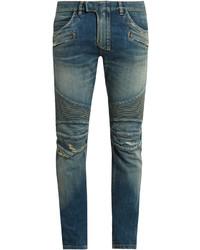Balmain Biker Distressed Slim Leg Jeans