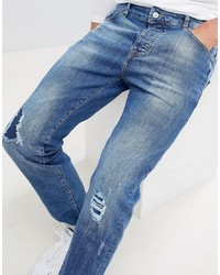 Mennace Blue Rip Repair Slim Jeans