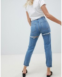 ASOS DESIGN Farleigh High Waist Slim Mom Jeans In Light Stone Wash With Bum Rips