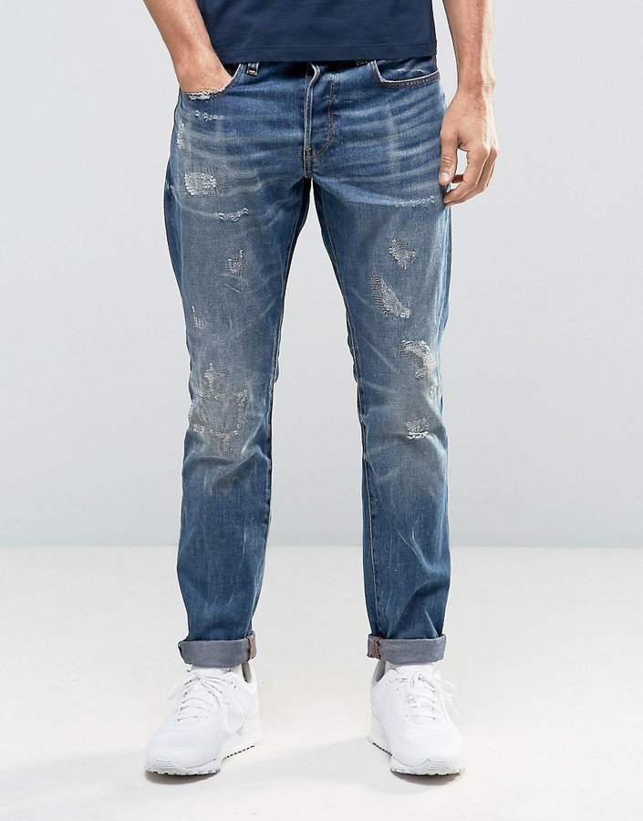 G Star G Star 3301 Tapered Jeans Dark Aged Restored Distressed 86