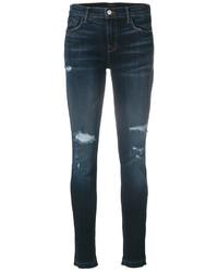 J Brand Mid Rise Destroyed Denim Jeans