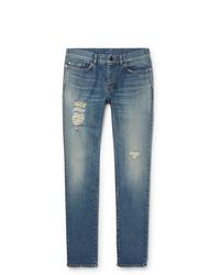 Saint Laurent Skinny Fit Distressed Denim Jeans