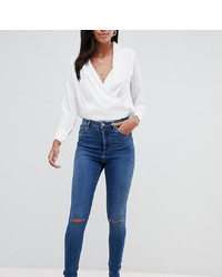 Asos Tall Asos Design Tall Ridley High Waist Skinny Jeans In Extreme Dark Stonewash With Button Fly And Ripped Knee
