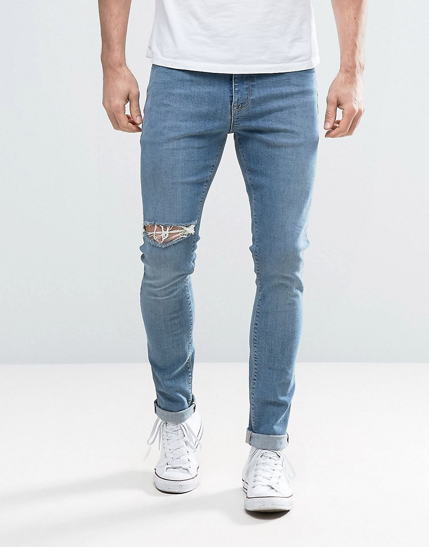 ASOS DESIGN Asos Super Skinny Jeans With Thigh Rip In Mid Blue