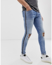 Jack & Jones Intelligence Spray On Jeans With Side Taping And Rip Details