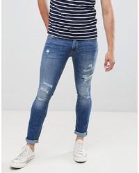Jack & Jones Jeans In Skinny Fit Destroyed Denim Denim
