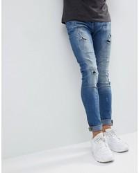 BLEND Lunar Light Wash Distressed Super Skinny Jeans