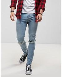 Roadies Of 66 Vintage Stone Wash Super Skinny Jeans With Knee Slits