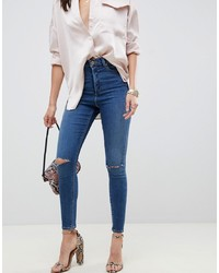 ASOS DESIGN Ridley High Waist Skinny Jeans In Extreme Dark Stonewash With Button Fly With Ripped Knees