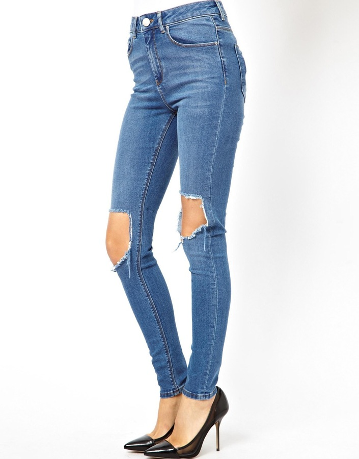 dc8ca91f269 Ridley High Waist Ultra Skinny Jeans In Busted Mid Wash Blue With Busted  Knees Busted Blue