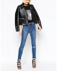 Cheap Monday Second Skin High Waist Skinny Jeans With Ripped Knees