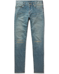 Saint Laurent Skinny Fit 15cm Hem Distressed Stretch Denim Jeans