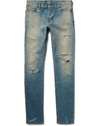 Saint Laurent Skinny Fit 16cm Hem Distressed Washed Stretch Denim Jeans