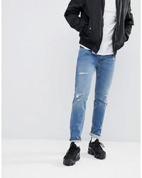 Hugo Skinny Fit Stretch Distressed Jeans In Blue