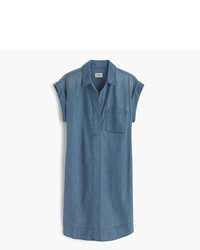 J.Crew Petite Short Sleeve Chambray Shirtdress