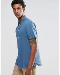 Asos Brand Shirt In Blue With Revere Collar And Short Sleeves