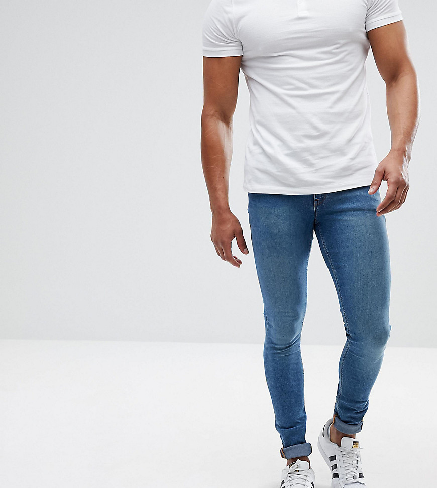 0c2bee4d197c ... ASOS DESIGN Asos Tall Extreme Super Skinny Jeans In Mid Blue