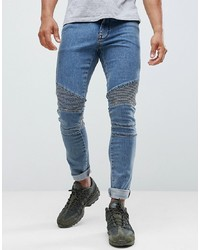 ASOS DESIGN Extreme Super Skinny Biker In Smokey Blue