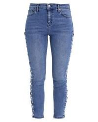 Topshop Lace Up Jamie Slim Fit Jeans Middenim
