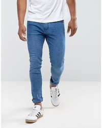 Mango Man Skinny Jeans In Mid Wash