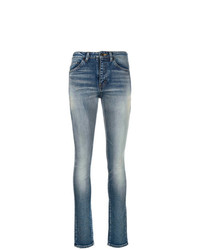 Saint Laurent Stonewashed High Rise Skinny Jeans