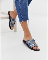 ASOS DESIGN Frankie Leather Ring Detail Flat Sandals In Snake Print