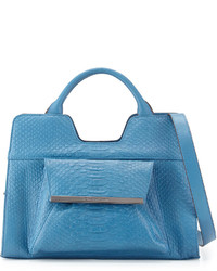 Blue Snake Leather Satchel Bag
