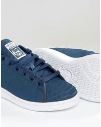 ... adidas Originals Navy Embossed Snake Suede Stan Smith Unisex Sneakers 3b0f05751