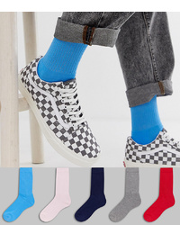 ASOS DESIGN Sports Socks In Multi Colours 5 Pack