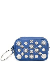 Blue Studded Leather Clutch
