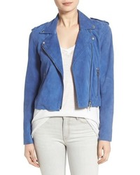 Suede moto jacket size large blue medium 463796