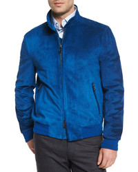 Blue Suede Bomber Jacket