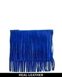 Suede fringe clutch bag blue medium 55558