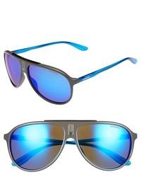 Carrera Eyewear 61mm Aviator Sunglasses Shiny Black Grey Mirror