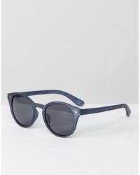 Asos Round Sunglasses In Matte Blue