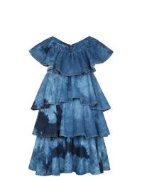 MSGM Tie Dye Tiered Denim Mini Dress