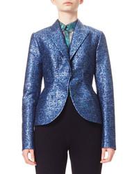 DELPOZO Metallic Jacquard Tweed Jacket Blue