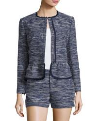 Joie Milligan Tweed Zip Front Jacket Blue
