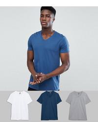 ASOS DESIGN V Neck T Shirt 3 Pack Save