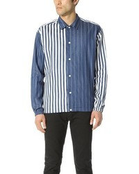 Blue Vertical Striped Chambray Long Sleeve Shirt